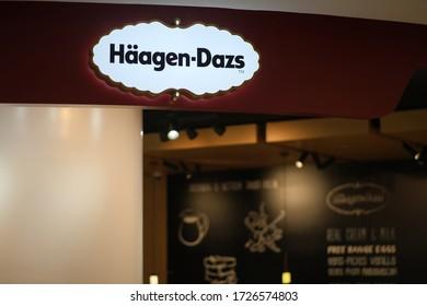 Shanghai/China-May 2020: close up shop sign of Häagen-Dazs.American ice cream brand