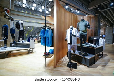 SHANGHAI.China-MAY,17,2018;nike store interior display.Famous sports fashion brands worldwide and it is one of the world's largest suppliers of athletic shoes and apparel.It's the first brand in China