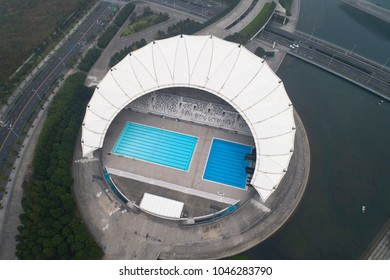 Shanghai,China-Nov 7,2017:Aerial view of Oriental Sports Center at Shanghai China,this swimming pool  belong part of  this center.