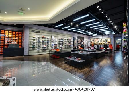 ccc498152202 Shanghai China Sep 282016 Nike Store Interior Famous Sports Fashion ...