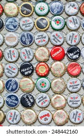 SHANGHAI-DEC. 4, 2014. Beer bottle caps collection. Beer sales in China rose 29 percent between 2006 and 2011 to 50 billion liters, more than double the consumption in the US, the next biggest market.