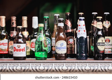 SHANGHAI-DEC. 4, 2014. Beer bottle collection. Beer sales in China rose 29 percent between 2006 and 2011 to 50 billion liters, more than double the consumption in the US, the next biggest market.