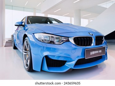 SHANGHAI-DECEMBER 9, 2014. The New BMW M3 sedan. The new BMW (425 hp) M3 sedan has a new twin-turbocharged 3.0-liter inline-six, more powerful than the atmospheric 4.0-liter V8 of its predecessor.
