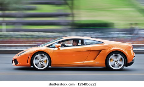 SHANGHAI-NOVEMBER 19, 2016. Lamborghini Gallardo on the street. With a total of 2,327 cars delivered to customers around the world, Lamborghini reported another increase in worldwide deliveries.