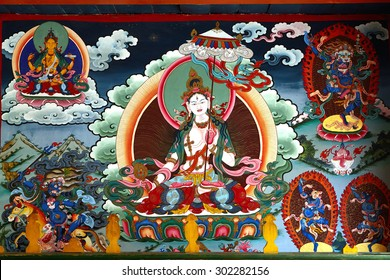 SHANGRILA, CHINA - April, 2015. White Tara - fragment of a wall painting of Songzanlin Monastery  is the largest Tibetan Buddhist monastery in Shangrila, formerly called  Zongdian, province - Yunnan