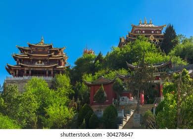 SHANGRILA, CHINA, June 23, 2015: view of the golden temple in historical old town in chinese city shangri-la alias zhongdian