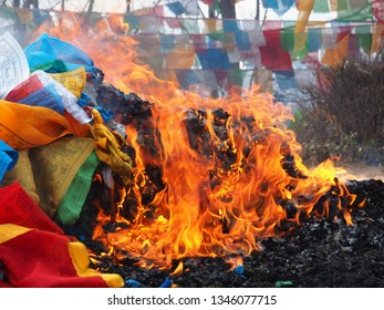 SHANGRILA, CHINA - March, 2019. The praying flags were burn after finish using in the festival of Tibetan praying - Yunnan