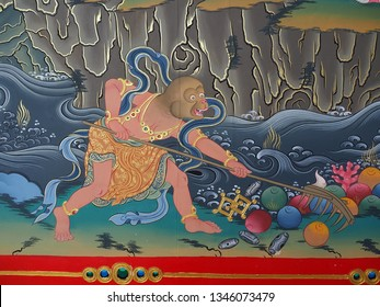SHANGRILA, CHINA - March, 2019. A wall painting of Songzanlin Monastery is the largest Tibetan Buddhist monastery in Shangrila, formerly called Zongdian, province - Yunnan