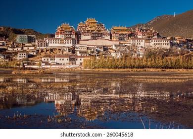 Shangrila. Ganden Sumtseling Monastery. Tibetan Buddhist monastery in Yunnan province, China. The monastery is the largest Tibetan Buddhist monastery in Yunnan province