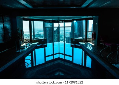 SHANGRI-LA HOTEL, DUBAI, UAE-19th SEPTEMBER 2017- the Shangri-La hotel boasts a swimming pool indoors to beat the heat of the arabian summer
