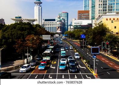 Shanhai China, November 24,2017 : Traffic jam at downtown shot from the bridge.