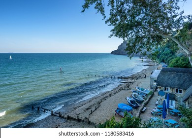 Shanklin beach on the Isle of Wight in the south coast of England