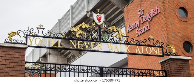 Shankly Gates at Anfield stadium in Liverpool (England) captured in June 2020.