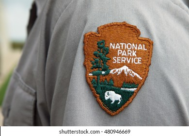 SHANKSVILLE, PA - AUGUST 17: National Park Service patch worn by the rangers at the Flight 93 National Memorial Visitor Center located near Shanksville, PA on August 17, 2016.