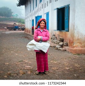 SHAN/MYANMAR - SEP 06. Unidentified local woman dressed traditionally poses for a photo on September 06, 2018 in the village in Shan State, Myanmar (Burma), Southeast Asia