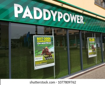Shannon Ireland - April 26, 2018: PaddyPower Betting sports shop in Shannon, Ireland. Outdoor picture of a PaddyPower sports betting  Branch.
