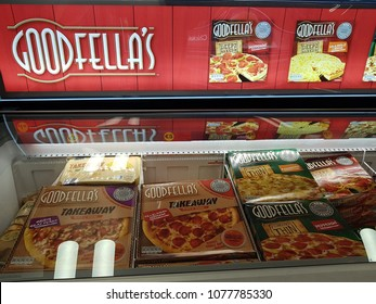 Shannon, Ireland - April 26th, 2018: Iceland Store in Shannon, Ireland. Shop store selection of various frozen gooddellas pizza .