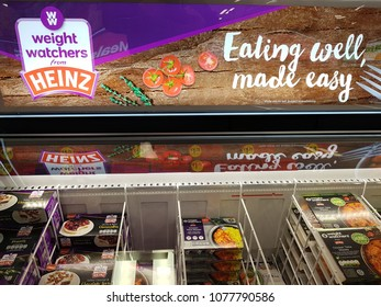 Shannon, Ireland - April 26th, 2018: Iceland Store in Shannon, Ireland. Shop store selection of various frozen heinz weight watchers food.