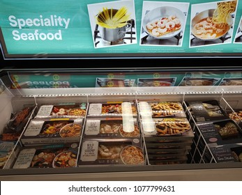 Shannon, Ireland - April 26th, 2018: Iceland Store in Shannon, Ireland. Shop store selection of various frozen speciality seafood.