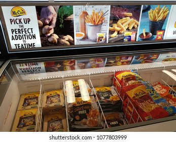 Shannon, Ireland - April 26th, 2018: Iceland Store in Shannon, Ireland. Shop store selection of various frozen McCain food.