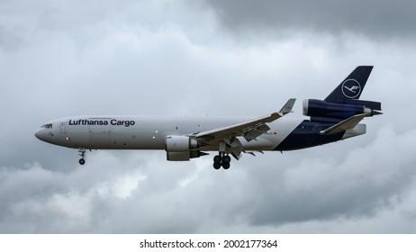 Shannon, Ireland - July 2021: Lufthansa Cargo, McDonnell Douglas MD-11F,  landing at Shannon Airport.