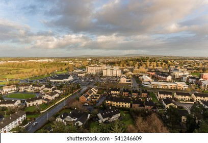 Shannon town center aerial skyline. Shannon town centre serves shannon airport. key town in county clare ireland for tourist entering leaving ireland from shannon airport and industrial estate