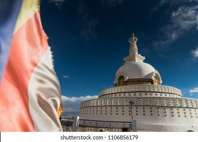 Shanti stupa  in Leh, Ladakh, India.