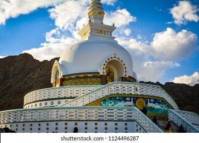 Shanti Stupa located at Leh in India