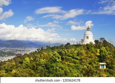 Shanti Stupa (World Peace Pagoda). View of Pokhara valley, Nepal