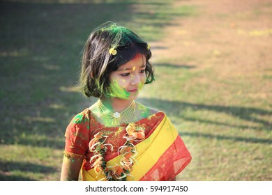 Shantiniketan, Birbhum, West Bengal in India on 05th March in 2015 - Children are enjoying Holi, the color festival of India. The festival of color at Shantiniketan, the abode of Rabindranath Tagore.