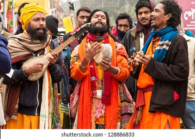 SHANTINIKETAN, INDIA - DECEMBER 25: Traditional baul folk singers perform during the annual Poush Mela fair on December 25, 2012 in Shantiniketan, West Bengal, India.