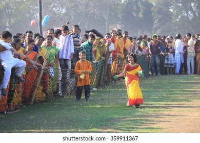 Shantiniketan, West Bengal, India- March 5, color festival of India on 5th March, 2015. Child are chasing each other to throw color at Shantiniketan the abode of Rabindranath Tagore.
