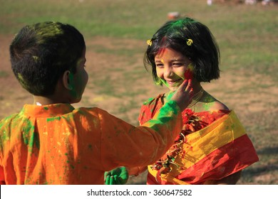 Shantiniketan, West Bengal, India- March 5, color festival of India on 5th March, 2015. Child are enjoying Holi at Shantiniketan, the abode of Rabindranath Tagore.
