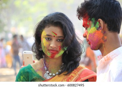 Shantiniketan, West Bengal in India on 05th March in 2015 - Couple are enjoying Holi, the color festival of India. The festival of color at Shantiniketan, the abode of Rabindranath Tagore.