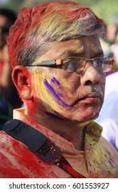 Shantiniketan, West Bengal in India on 05th March in 2015 - Portrait of an old man at Holi, the color festival of India. Shantiniketan, the abode of Rabindranath Tagore.
