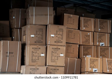 SHANTOU, CHINA - OCTOBER 23, 2017: a pile of brown paper box at the warehouse near the port
