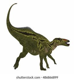 Shantungosaurus Dinosaur Tail 3D Illustration - Shantungosaurus was a herbivorous Hadrosaur dinosaur that lived in China in the Cretaceous Period.