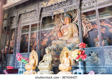 SHANXI, CHINA -  Aug 30 2015: Budda Statues at Guangsheng Temple. a famous historic site in Hongdong, Shanxi, China.