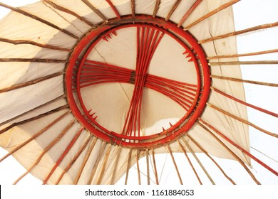 The shanyrak is the circular opening at the top of the yurt