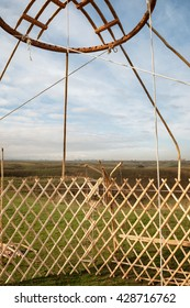 Shanyrak - The wooden crown of the yurt. Yurt - portable, bent dwelling structure traditionally used by nomads in the steppes of Central Asia as their home.