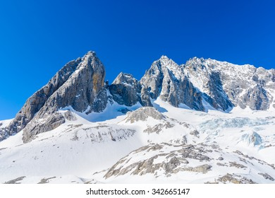 Shanzidou,the highest peak of Jade Dragon Snow Mountain.