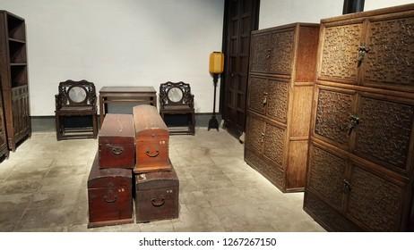 Shaoxing / China - December 8 2018: Pawnshop storage room of Chinese Zhou Dynasty