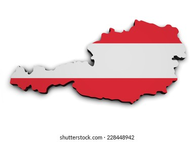 Shape 3d of Austria map with Austrian flag, illustration isolated on white background.