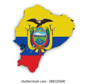 Shape 3d of Ecuador map with Ecuadorian flag illustration isolated on white background.
