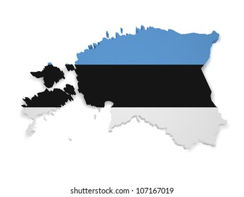 Shape 3d of Estonian flag and map isolated on white background.