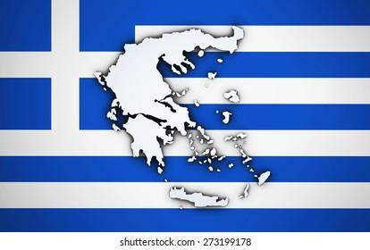 Shape 3d of Greece map on Greek flag background.