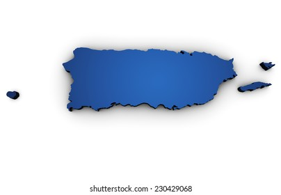 Shape 3d of Puerto Rico map colored in blue and isolated on white background.