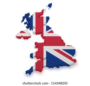 Shape 3d of United Kingdom map with flag isolated on white background.