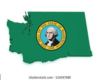 Shape 3d of Washington map with flag isolated on white background.
