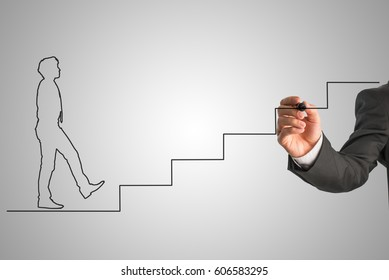 Shape of a businessman in tie walking up stairs. Hand drawing black lines over grey background. Conceptual of business career and solving problems and challenges.